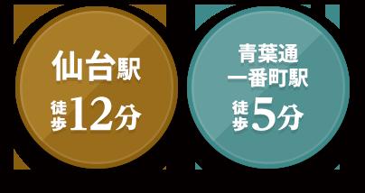 仙台駅徒歩12分 青葉通一番町駅徒歩5分